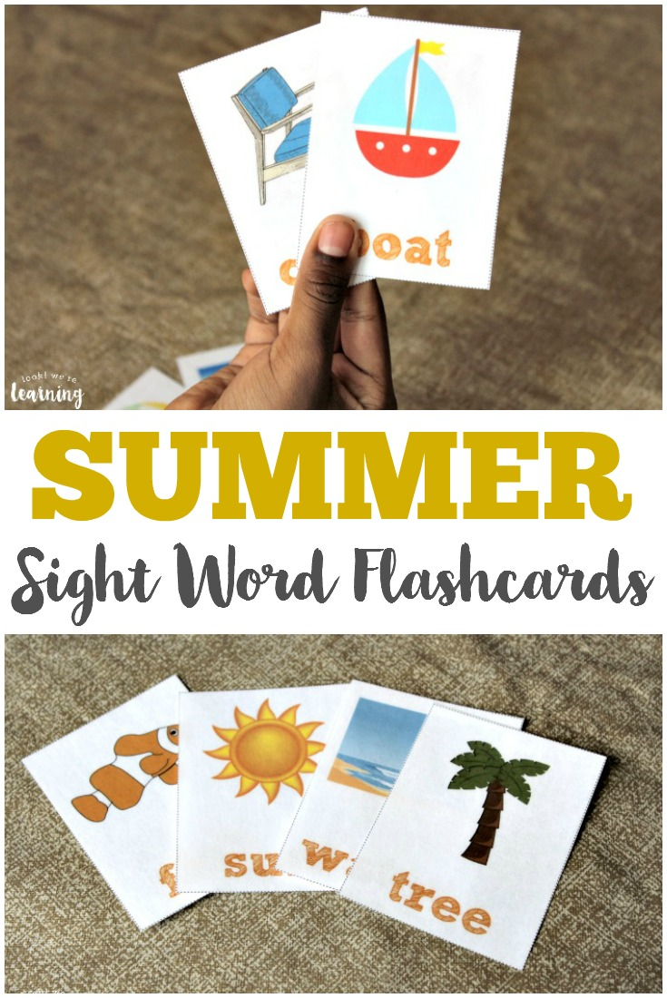 Get your early reader some fun in the sun reading practice with these printable summer printable sight word flashcards!