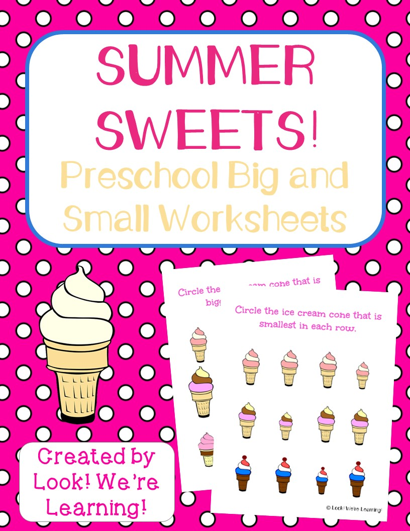 Ice Cream Big and Small Worksheets