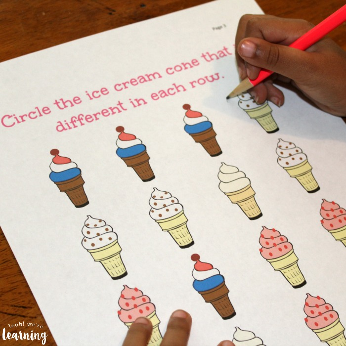 Ice Cream Preschool Worksheets