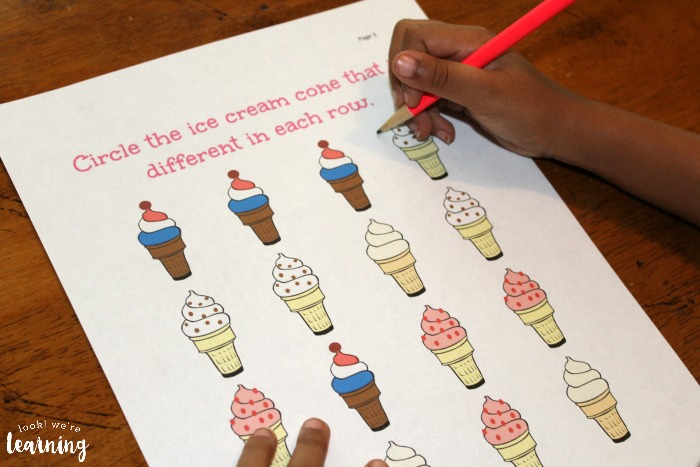Ice Cream Same and Different Preschool Worksheets
