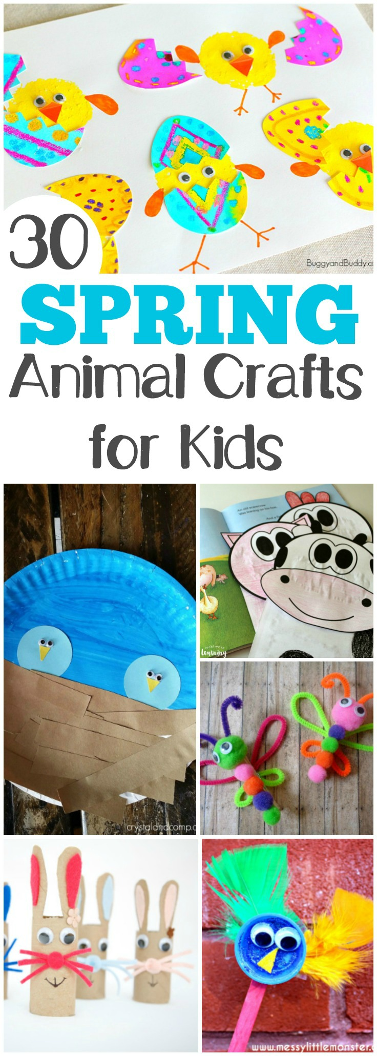 Make these 30 adorable and easy spring animal crafts with the kids!