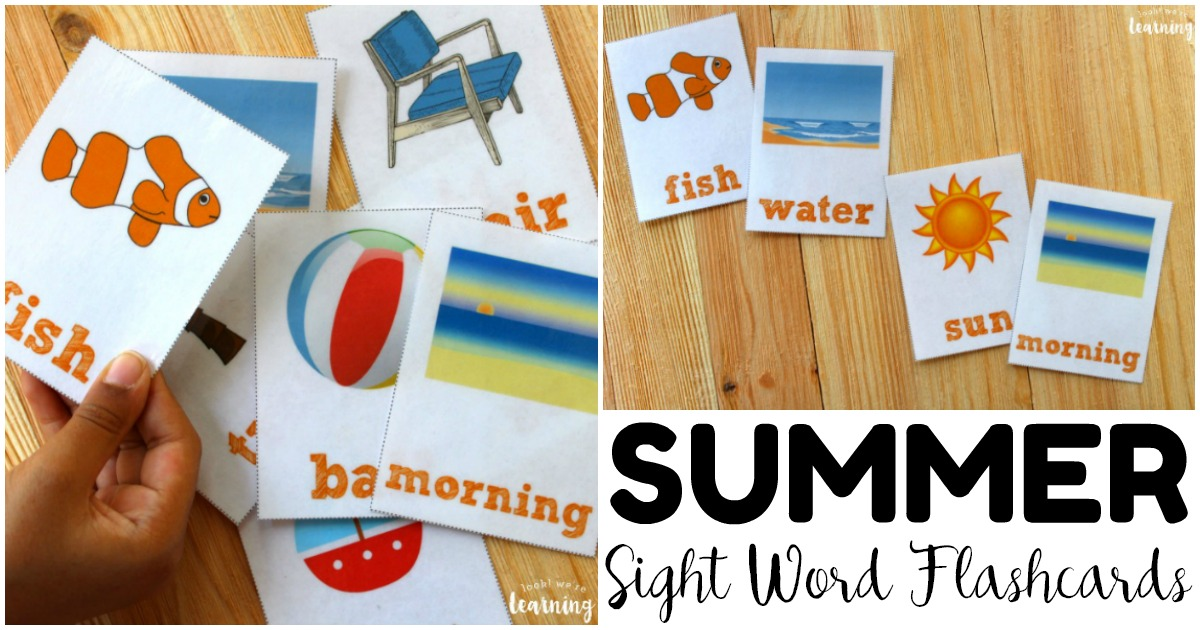 Summer Sight Word Flashcards for Early Readers