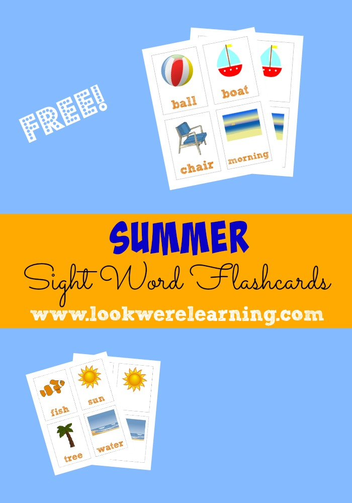 Word video sight Flashcards: Summer Printable Flashcards Free Printable we Sight word