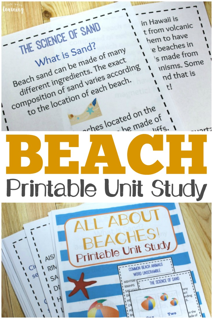 Learn about the science of beaches plus get fun math, language, and geography practice in this printable beach unit study!