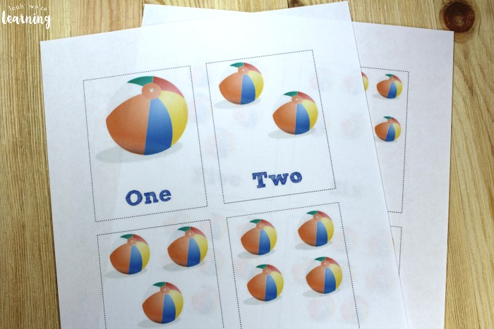 Printable Beach Counting Cards