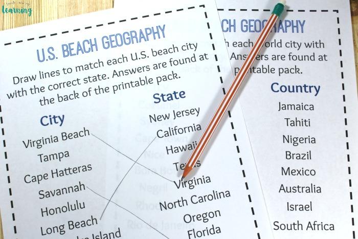 Printable Beach Geography Activity
