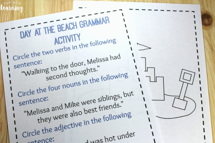Printable Beach Language Arts Activity
