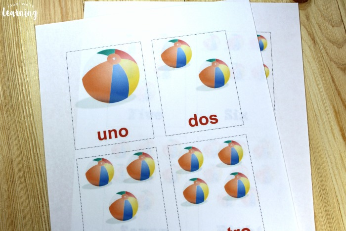 Printable Beach Spanish Counting Cards