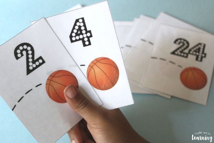 Basketball Skip Counting by Two Flashcards