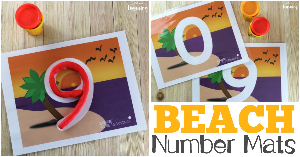 Beach Number 0-9 Playdough Mats for Kids