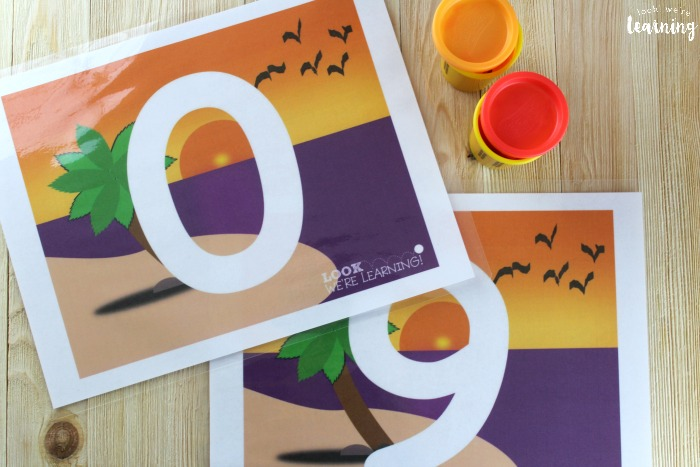 Beach Playdough Mats for Learning Numbers