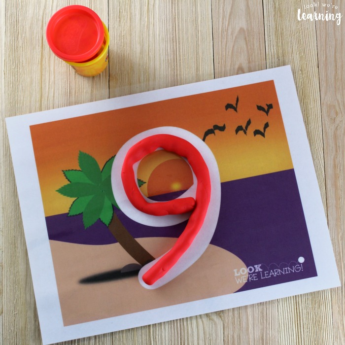 Number 0-9 Beach Playdough Mats for Kids