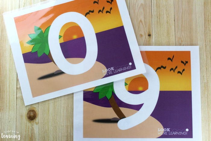 Printable Beach Number Playdough Mats