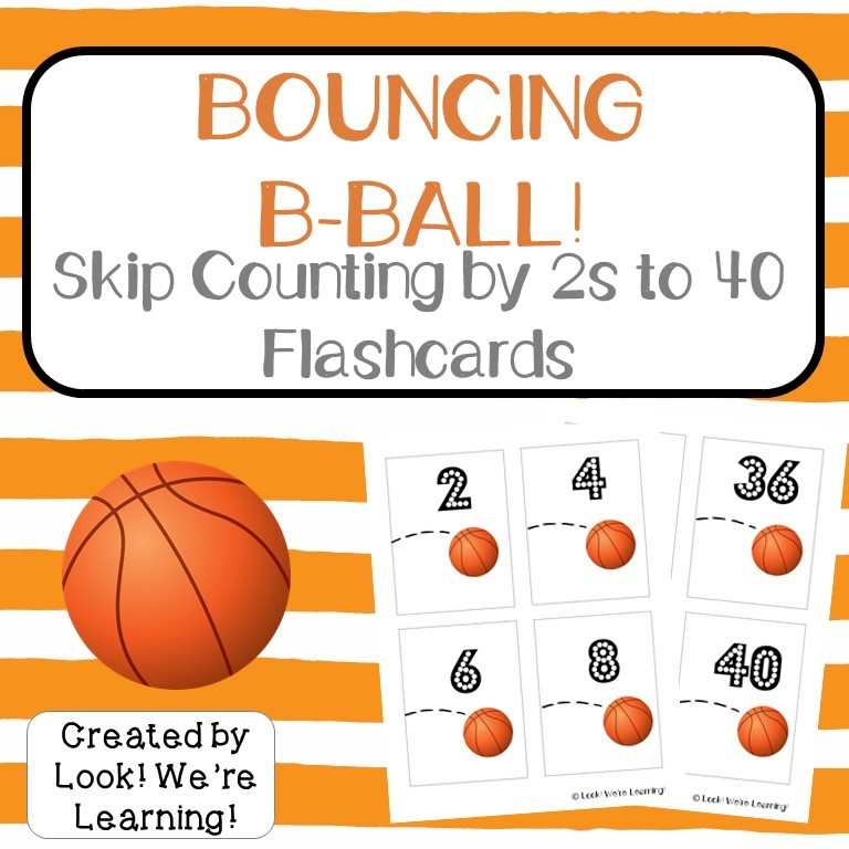 Skip Counting by Two Basketball Flashcards