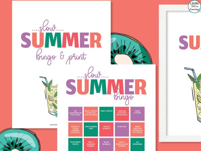 Slow Summer Bingo Activity