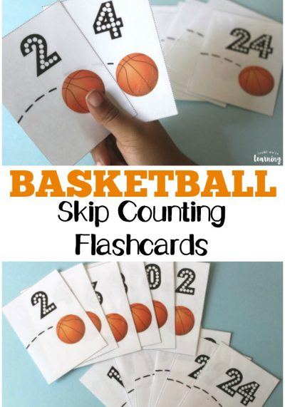Teach kids to skip count by twos with these basketball-themed free skip counting flashcards!
