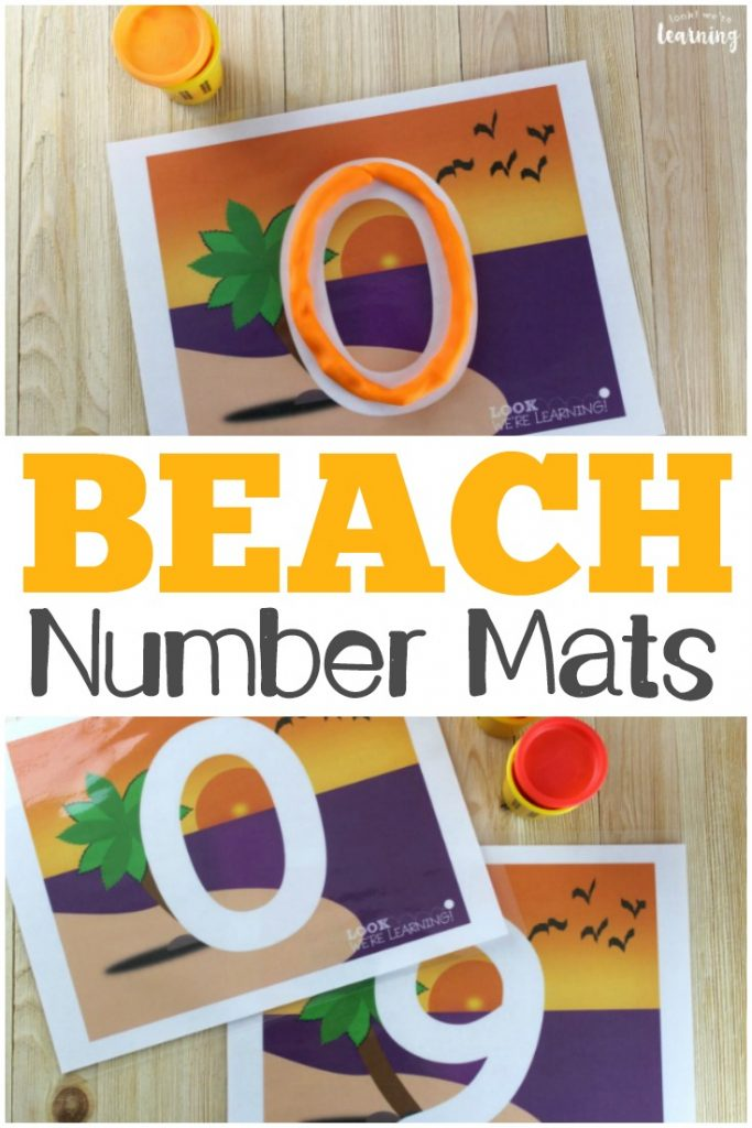 These beach themed number playdough mats are fun for practicing recognizing numbers from 0 to 9!