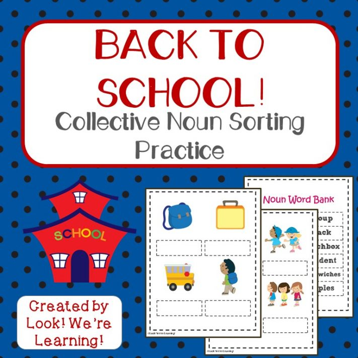 Back to School Collective Noun Sorting Activity