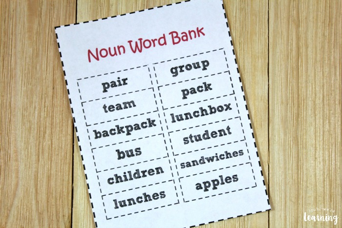 Back to School Noun Sorting Activity for Kids