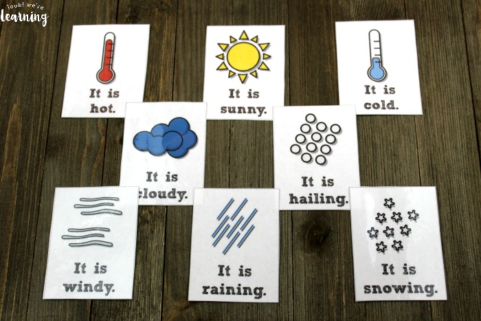 English and Spanish Weather Flashcards