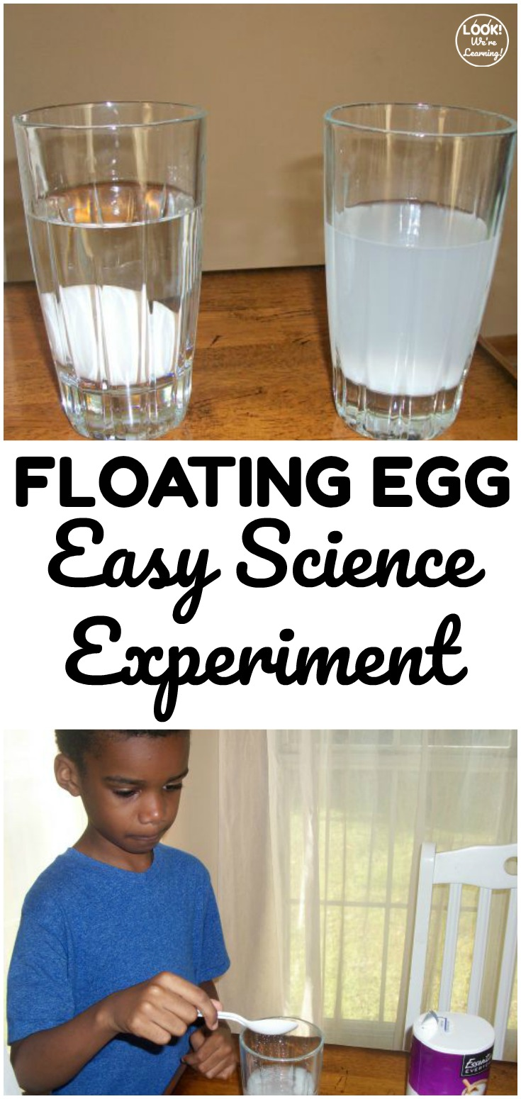 Learn about displacement and salinity with this super simple floating egg experiment! This easy science experiment is great for kids who are learning at home!