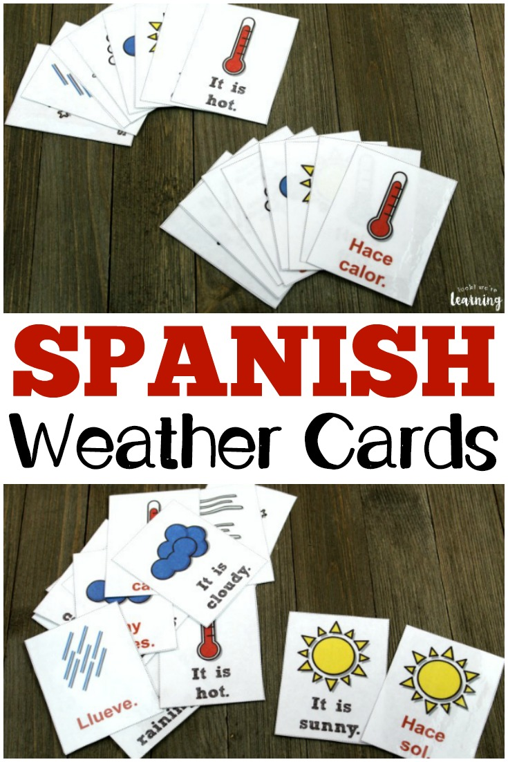Learn how to talk about weather in Spanish with these printable Spanish weather flashcards!