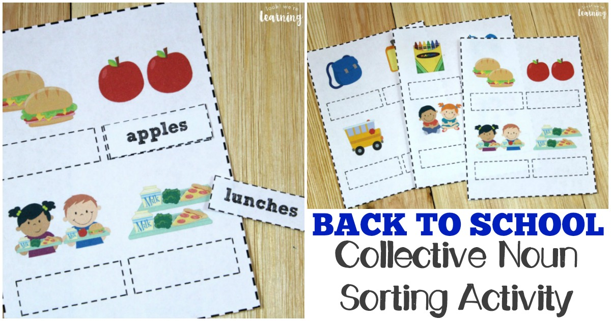 Printable Back to School Collective Noun Sorting Activity for Kids