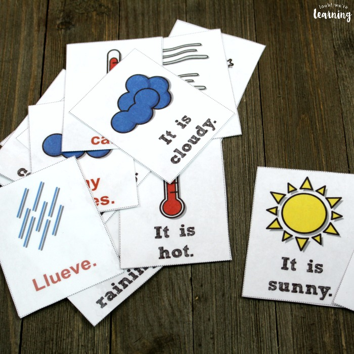 Printable Spanish Weather Flashcards for Kids