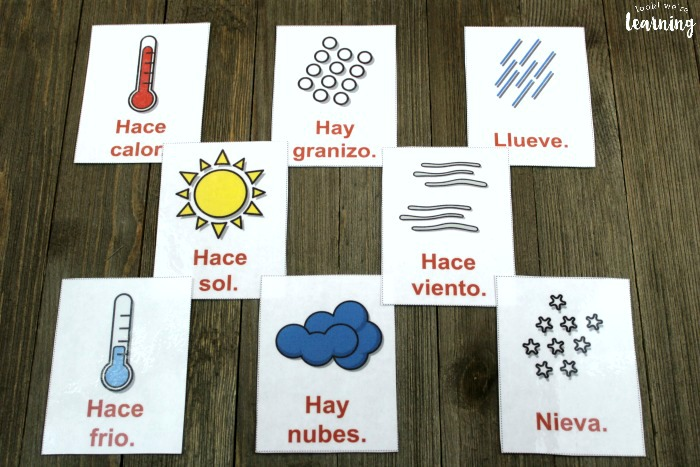 Spanish Weather Word Flashcards