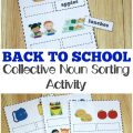 This back to school themed collective noun sorting activity is perfect for elementary language arts practice!