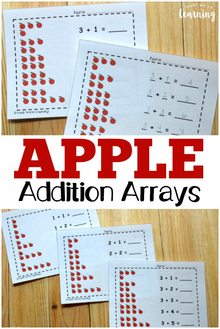 Work on using arrays to add numbers up to five with these printable apple themed addition array practice printables! These are great for math practice in early grades!