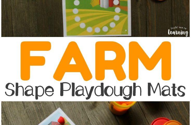 Preschool Playdough Mats: Farm Shape Playdough Mats