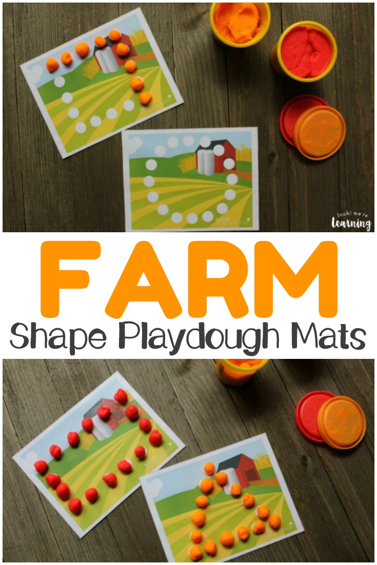 Build fine motor skills and shape awareness with these fun printable farm shape playdough mats!