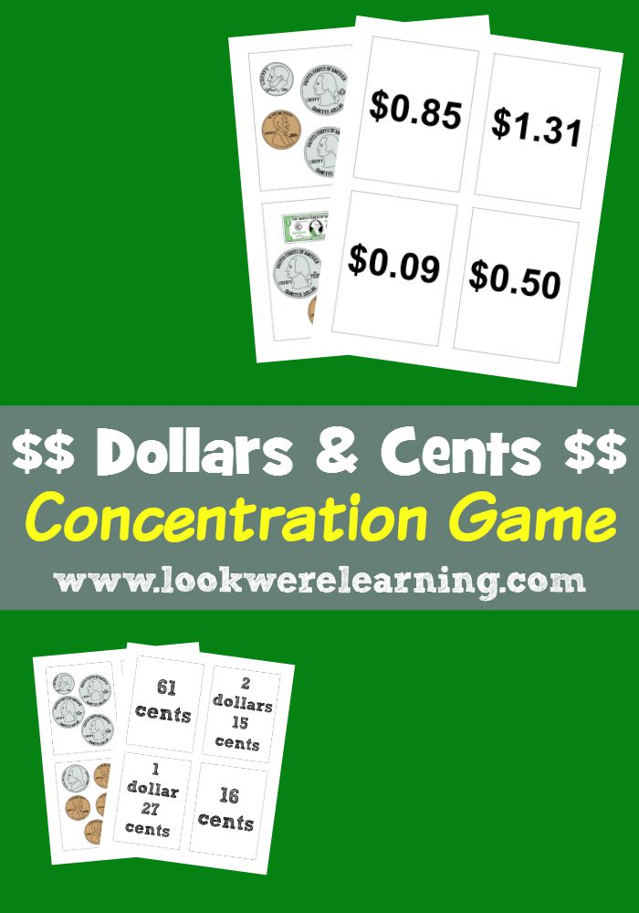 Money Activities for Second Game: Dollars & Cents Concentration Game from Look! We're Learning!