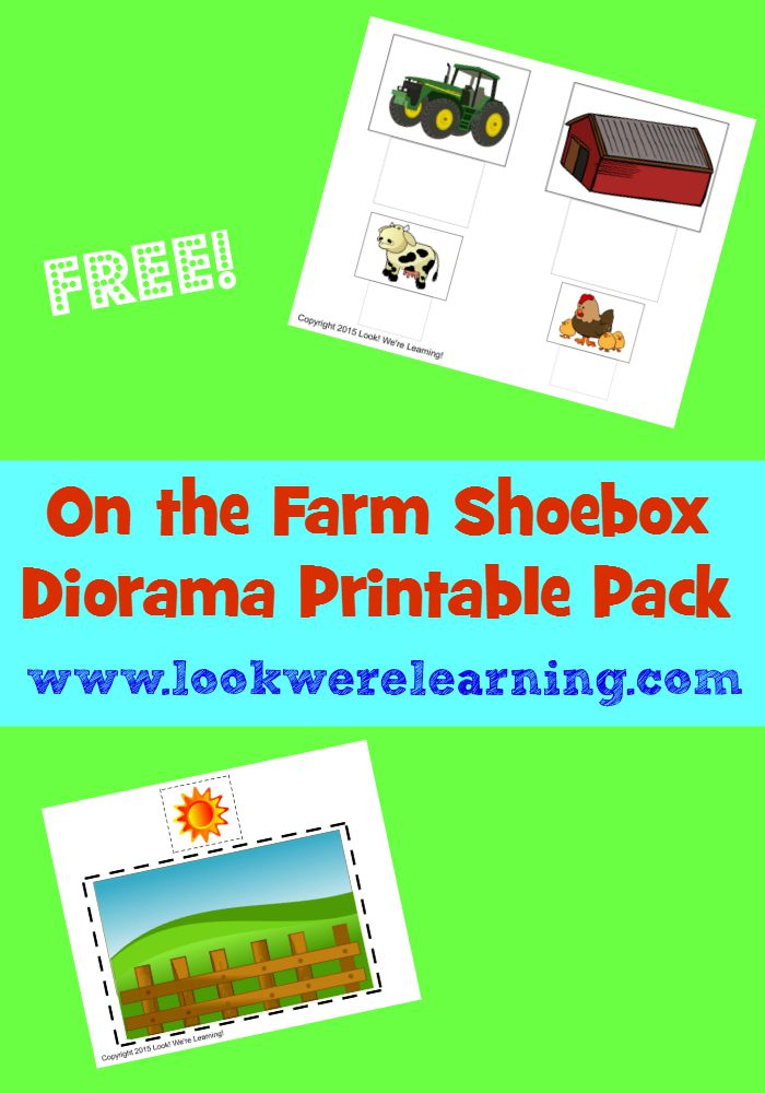 Make a farm shoebox diorama with this free On the Farm Shoebox Diorama Printable Pack!