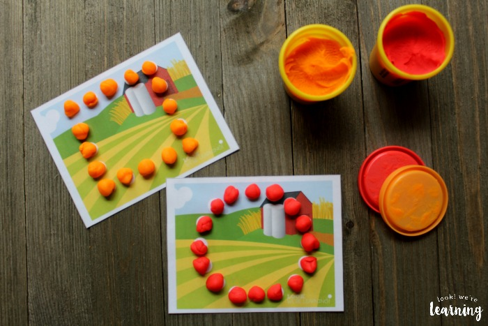 Farm Shape Playdough Mats for Kids