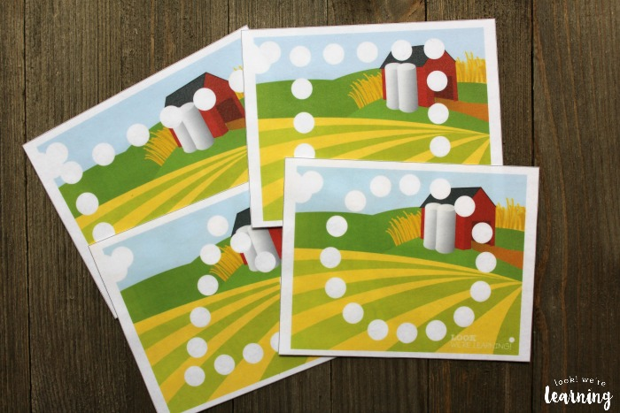 Farm Themed Shape Playdough Mats