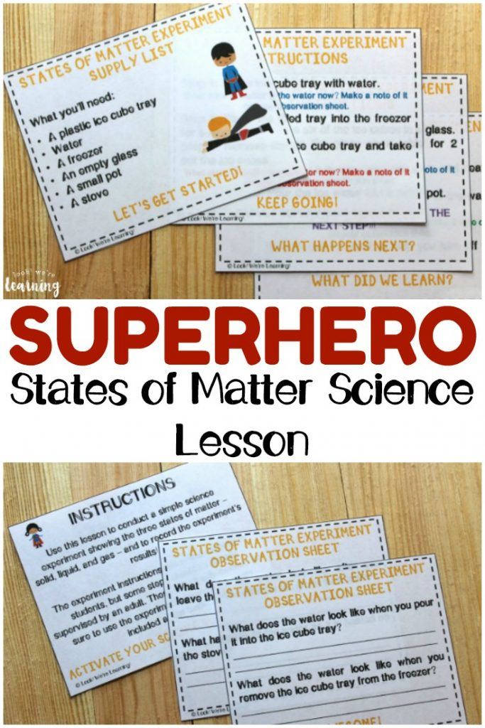 Learn about the states of matter with this fun printable superhero states of matter lesson for elementary students!