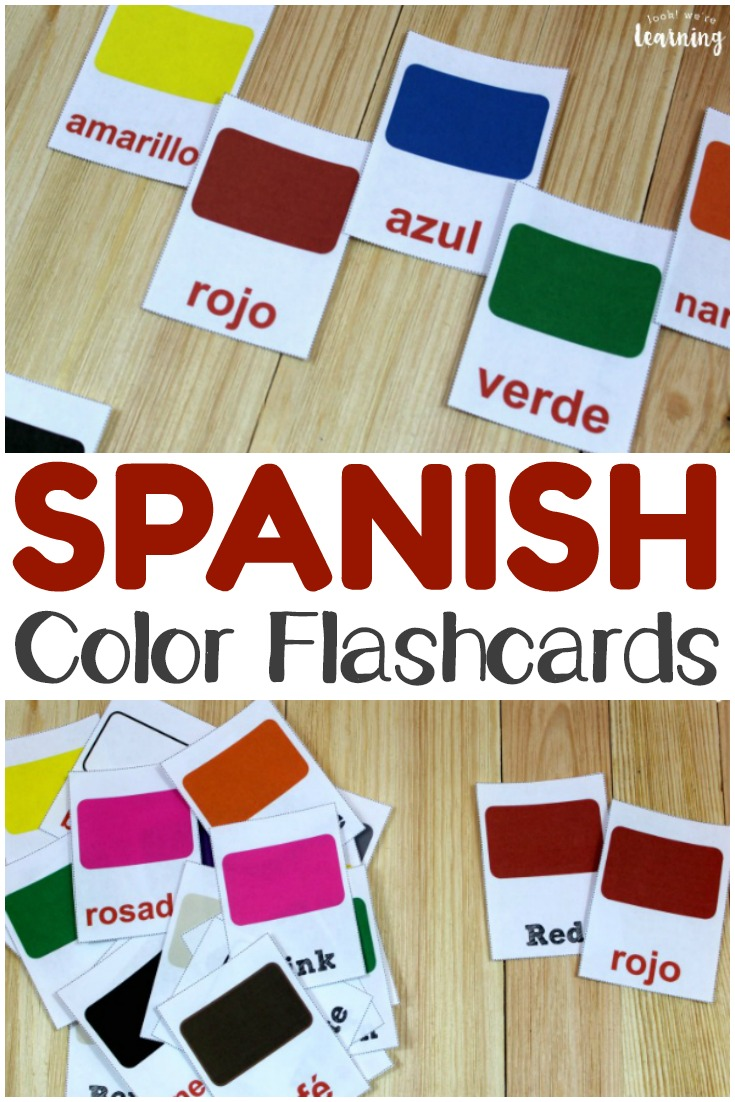 graphic about Color Words Printable named Printable Spanish Flashcards: Spanish Colour Flashcards