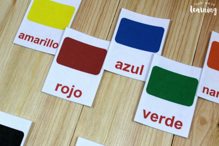 Printable English and Spanish Color Flashcards for Kids