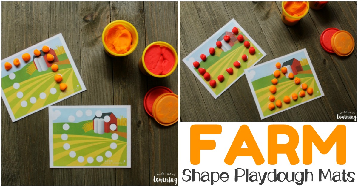 Printable Farm Playdough Shape Mats for Early Learners