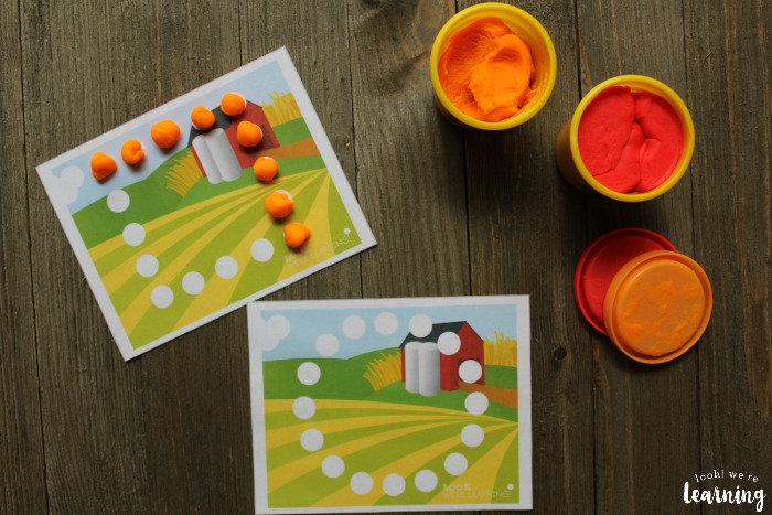 Printable Farm Shape Playdough Mats for Kids