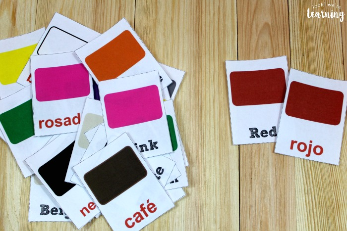 Spanish and English Printable Color Flashcards