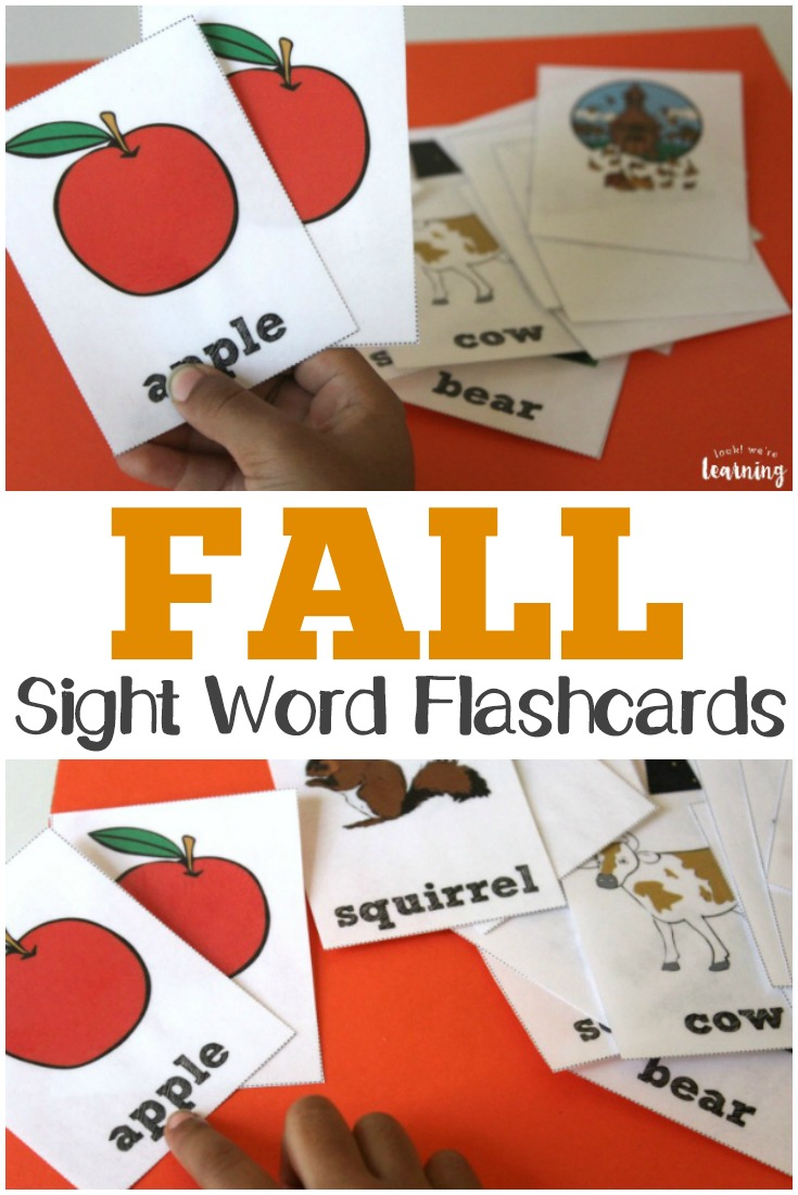 Use these printable fall sight word flashcards to help early learners practice sight reading!