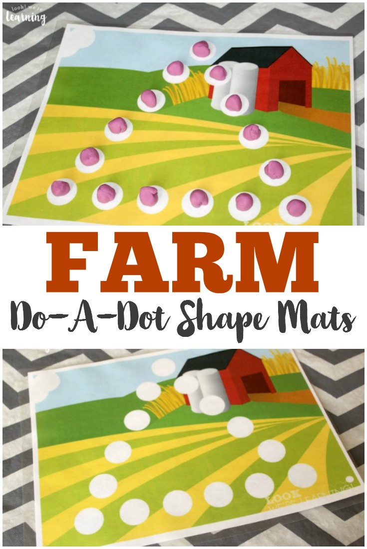 Use these printable farm do-a-dot shape mats to help preschoolers learn to use dot markers or playdough to form shapes!