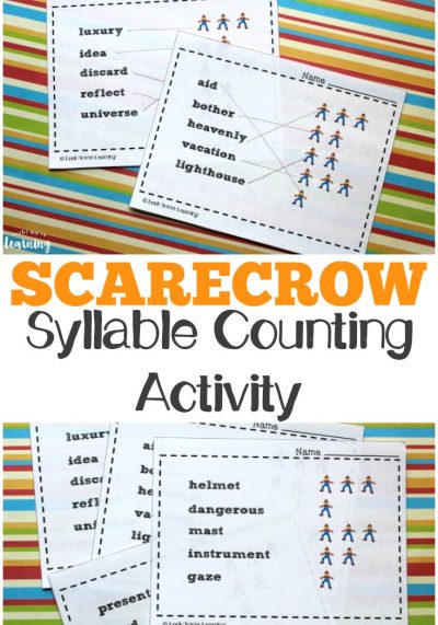 Work on recognizing syllables in common vocabulary words with this Scarecrow Syllables printable syllable activity for kids!
