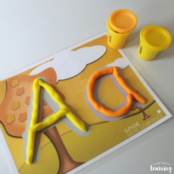 Alphabet Fall Playdough Mats for Kids