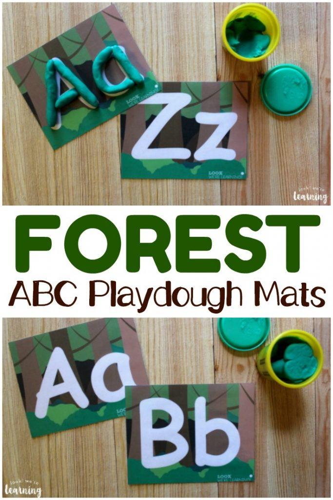 Build fine motor skills and letter recognition with these fun forest alphabet playdough mats!