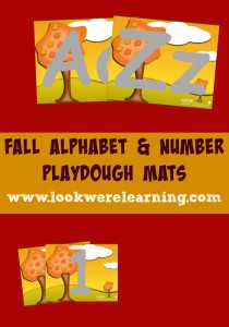 Alphabet and Number Fall Playdough Mats - Look! We're Learning!