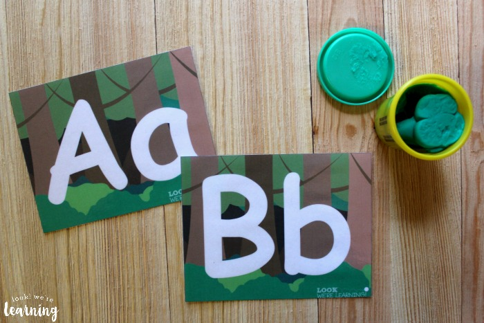 Forest Alphabet Playdough Mats for Kids